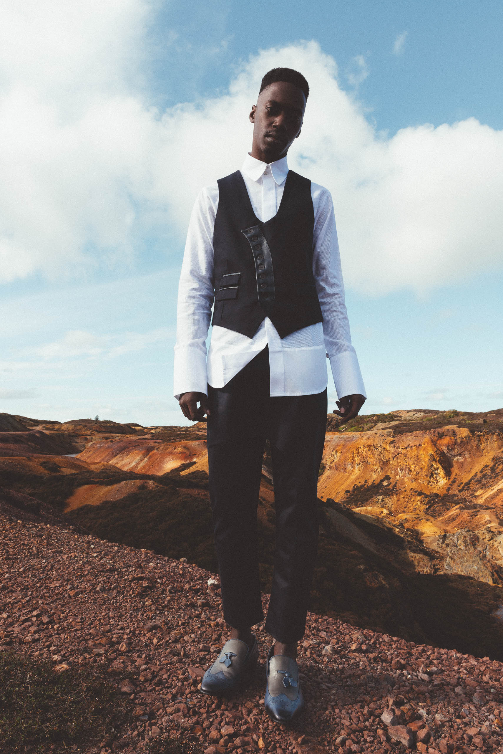 maurice whittingham after all the blues lookbook Waistcoat with leather details