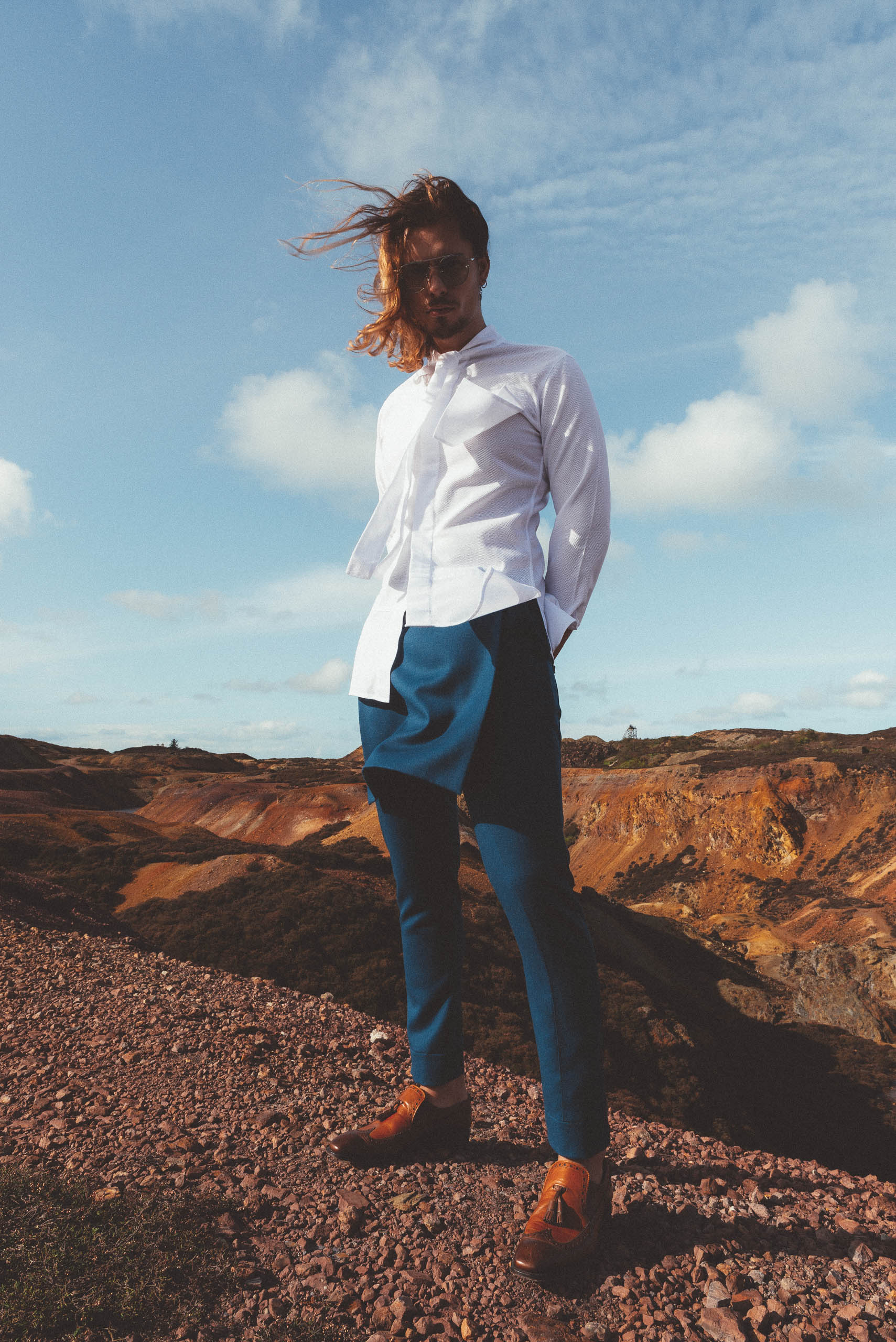 Maurice Whittingham is a New Sustainable Menswear label Detachable Kilt Crossover trousers
