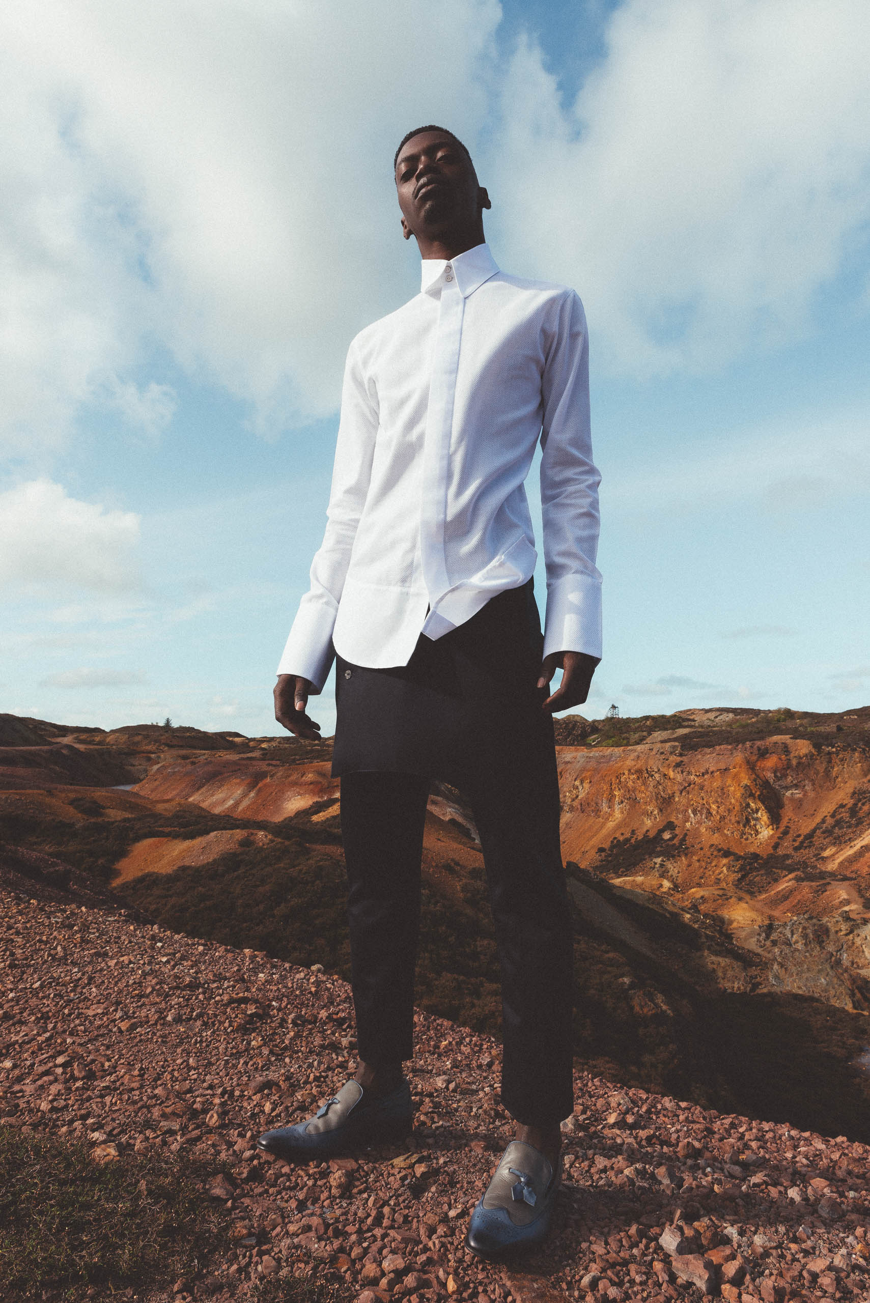 maurice whittingham after all the blues lookbook Arch Detailed Collar Shirt
