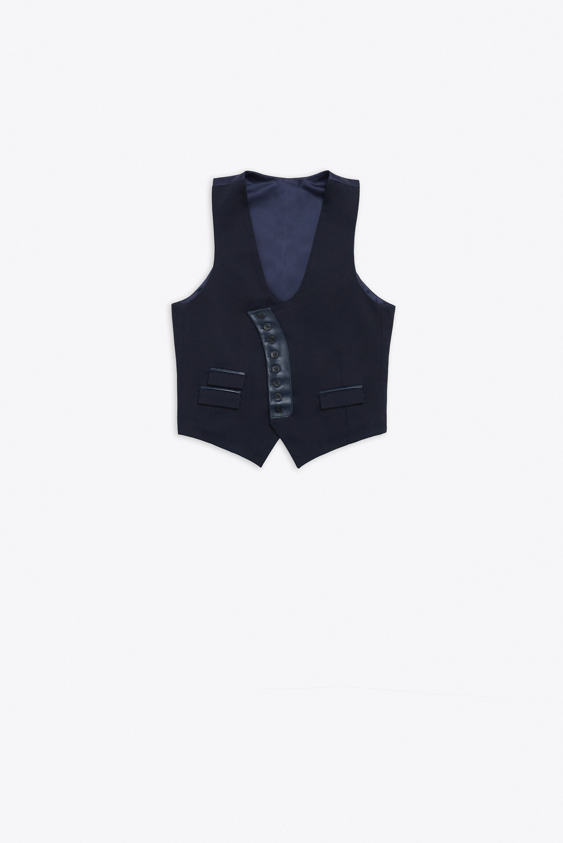 WAISTCOAT WITH LEATHER DETAILS