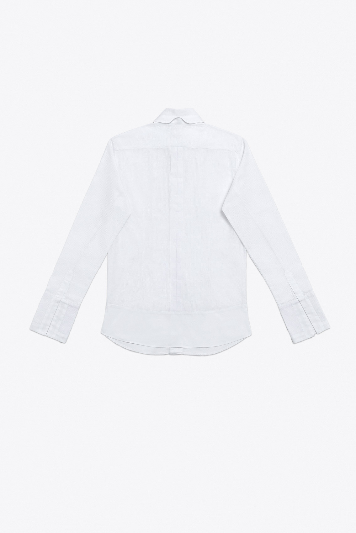 PLEATED MESH TUX SHIRT