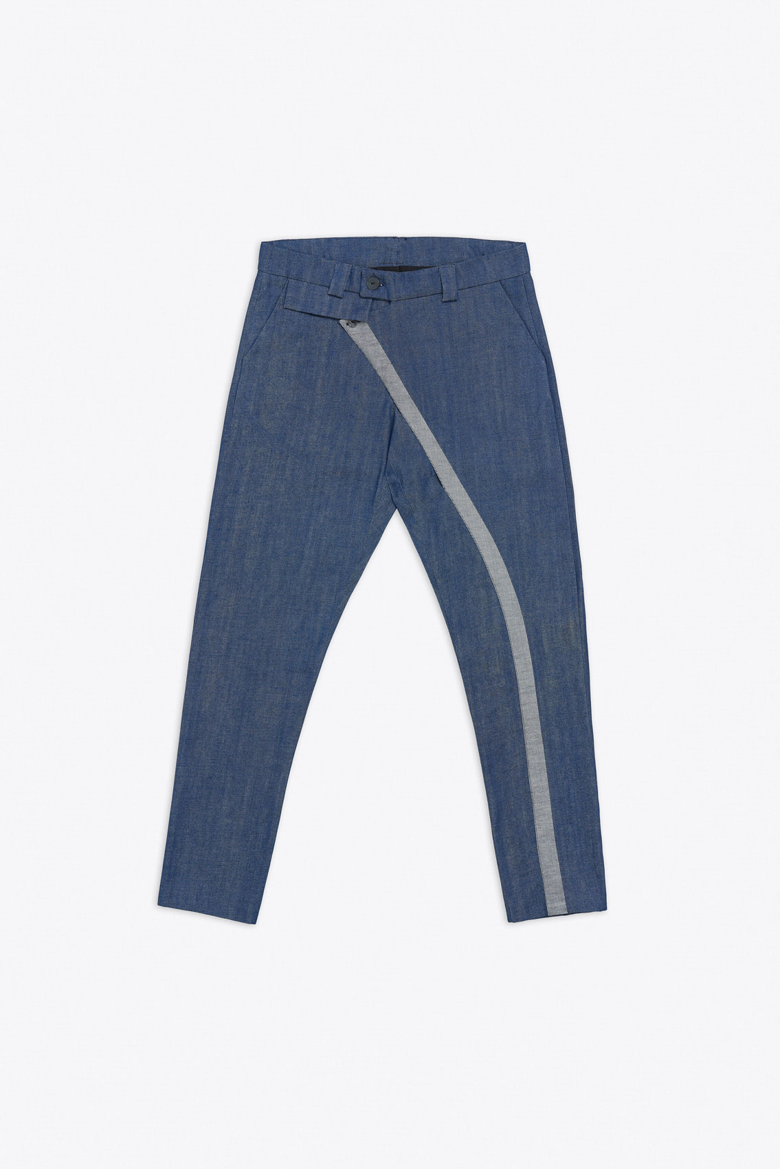CONTRASTING EDGE SINGLE LEG CROSS OVER DENIM TROUSERS