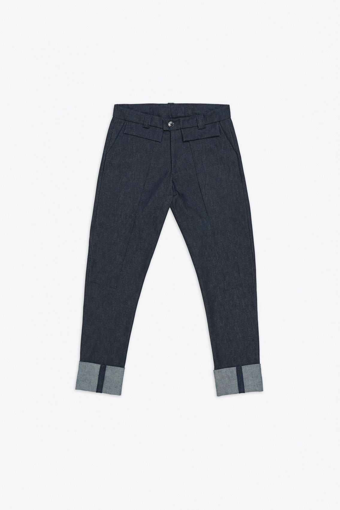 DOUBLE LEG OVERLAY DENIM TROUSERS
