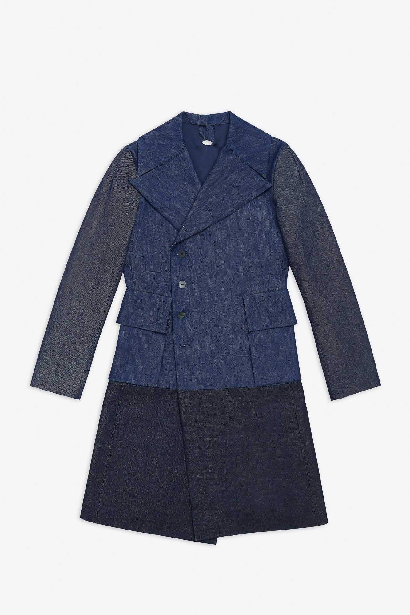 MILITARY DOUBLE BREASTED DENIM LONG COAT