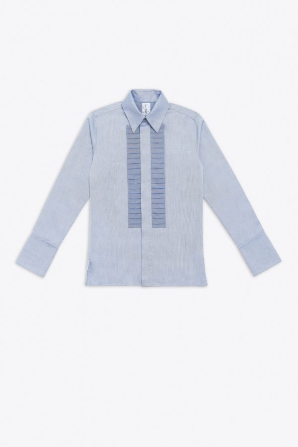 PLEATED DENIM TUX SHIRT